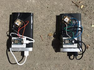 2 Prototypes: USB Battery packs, Particle Photons, Adafruit Flora GPS.